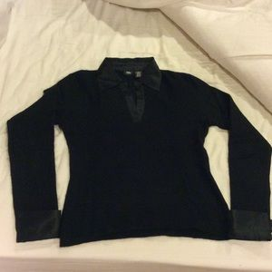 Mossimo Supply Co. Sweaters - Black angora blend sweater w/ satin collar & cuffs