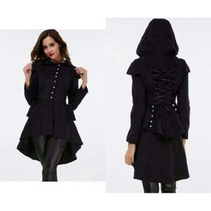 Dirty Girly Jackets & Blazers - Hooded Corset Lace Back Coat. Gothic Style