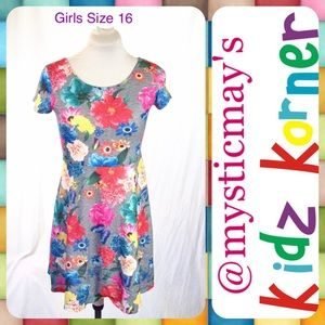 So Other - Girls Gray Floral Short Sleeve Casual School Dress