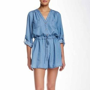 Chambray Romper by Want & Need