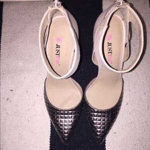 Just Fab Shoes - Just Fab Gunmetal/Tan Metallic Heel- Size 6 New!