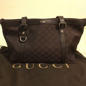 3af92543a95 Gucci Bags - Gucci Abbey Dark Brown GG Canvas  Leather Tote Bag