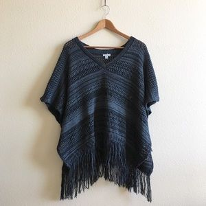 UO | Ecote Stripe Fringe Poncho