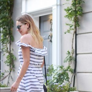 Asos off the shoulder stripes dress