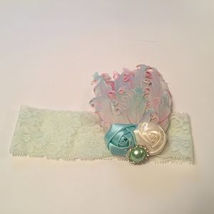 Other - Newborn lace and feather headband
