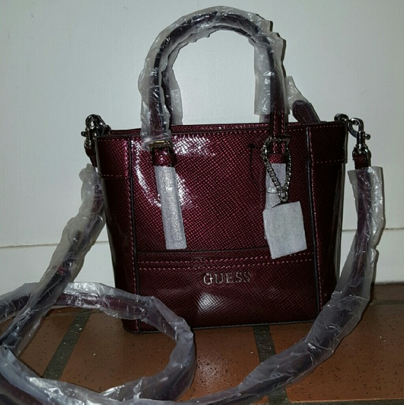 869d254072 Guess Delaney Patent Mini Tote NWT