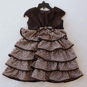 Isobella & Chloe Other - Brown taffeta and ruffled dress with satin trim