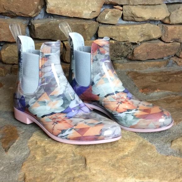 NWT NoSox Myst Pink Floral Rain Boots