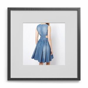 FRENCH CONNECTION SIDE CUTOUT DENIM SKATER DRESS