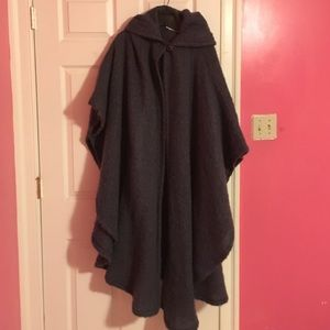 Long Denim blue warm 1 button cape