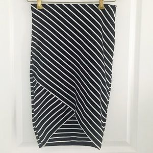 Zara high-low striped skirt