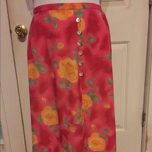 Vintage Dresses & Skirts - Hot Pink Floral Vintage Skirt size Large