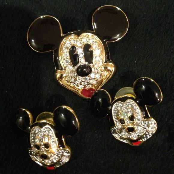 Mickey Mouse Crystal Enamel Earrings