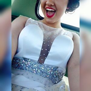 angela & alison Dresses & Skirts - Ivory/White AB Chrystal Prom Dress
