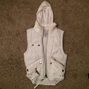 Child's small, White vest with connecting hood