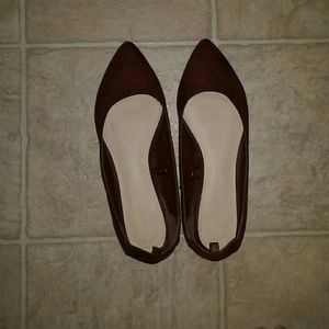 Forever 21 Faux Suede Pointed Flats Burgundy