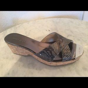Jimmy Choo Prima Snakeskin Cork Wedge Sandal Sz 37