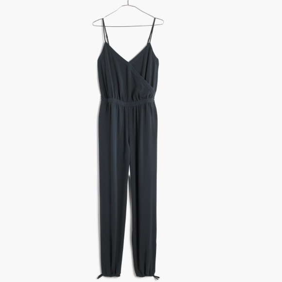 20a69a2b91f Madewell Faux-Wrap Cami Jumpsuit in Spruce