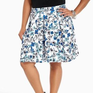 Blue floral scuba skirt