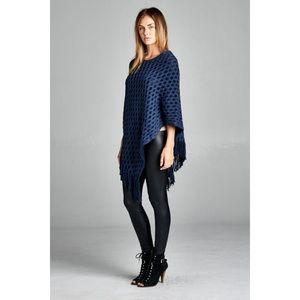 ultrachicfashion.com Sweaters - Navy Blue Poncho Sweater