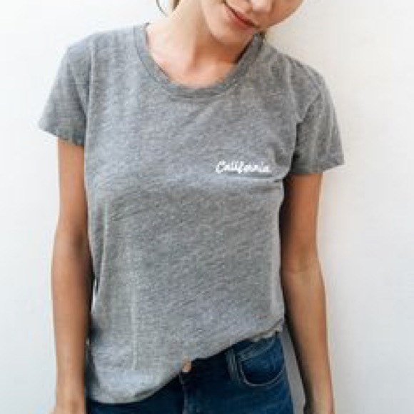 Brandy Melville Brandy Melville Grey Tshirt California Embroidery