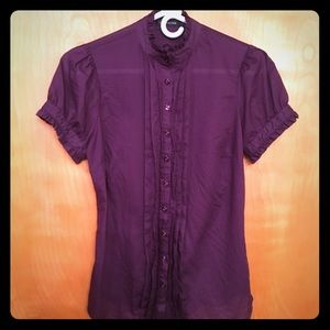 The Limited Tops - THE LIMITED Purple button down with puffy sleeves
