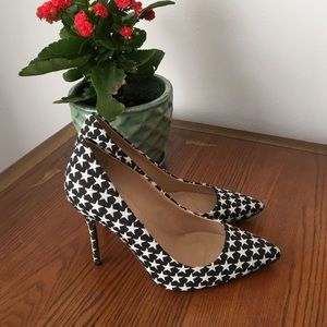 J.Crew black and white star fabric pumps size 7.5