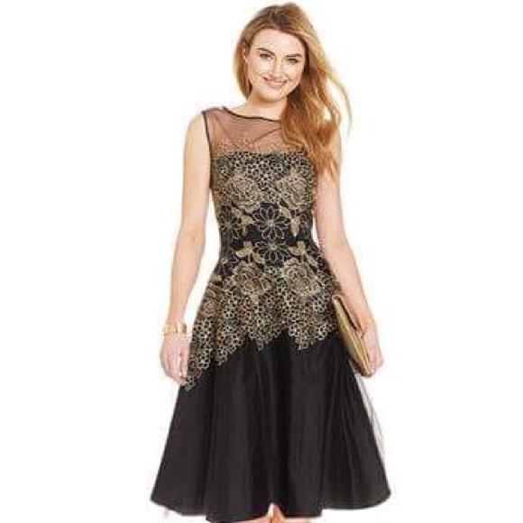 01b488462df7a Tahari by ASL Metallic Embroidered Floral Dress. M_58209b4f4e95a3245f0b2d0a