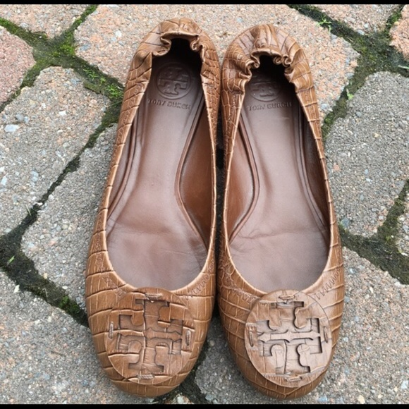 d1ec4b312729 Tory Burch Reva Croc-Embossed Flats. M 58209bd6291a35827c0b30a5