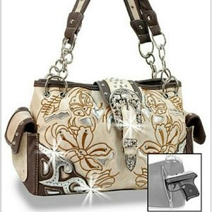 Handbags - Beige western embroidered concealed weapon handbag