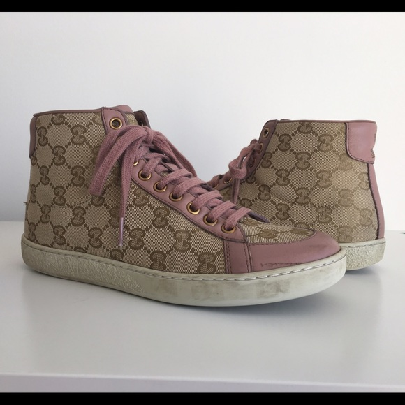 3aab9e53 GUCCI MONOGRAM WOMENS LIGHT PINK HIGH TOP SNEAKERS