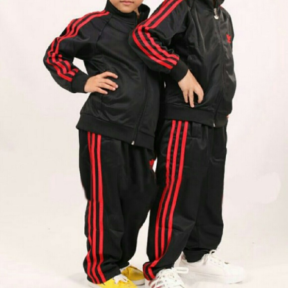 adidas tracksuit black red