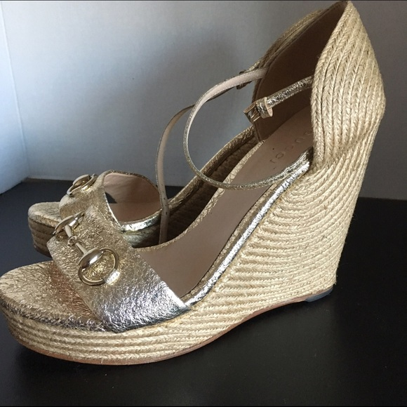 d331b8c86 Gucci Shoes | Carolina Wedge Horse Bit Gold 395 95 | Poshmark