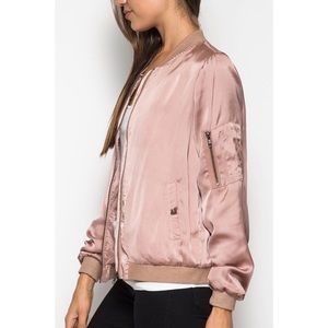 25a8baf26b Hannah Beury Jackets   Coats - LAST ONE!! Dusty Rose Satin Bomber Jacket