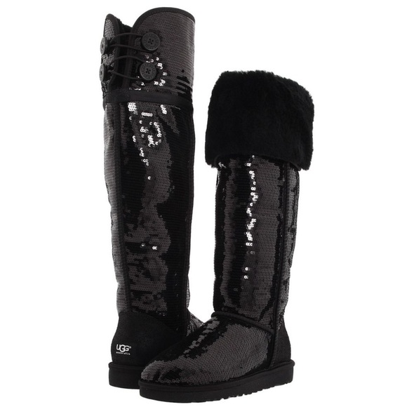 ceb3e765b68 Black Sequin Over-The-Knee Bailey Button Ugg Boots