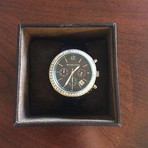 Michael Kors Black Resin & Crystal watch