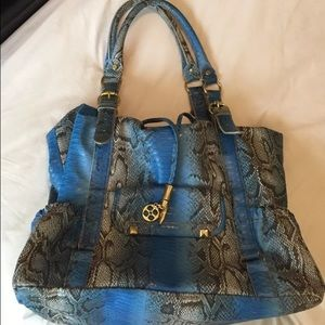 Iman City Chic Blue Python X-Large Tote/ Bag/Purse