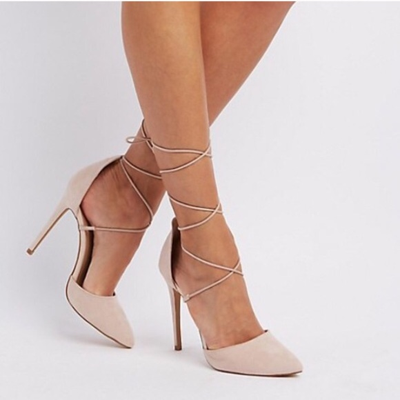 c5e626e5aad6 Charlotte Russe Shoes - Nude Pointed Toe Lace up Heels