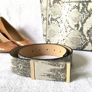 Ann Taylor Black & White Snake Print Belt