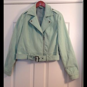 Sparkle and fade mint green motorcycle jacket🔥