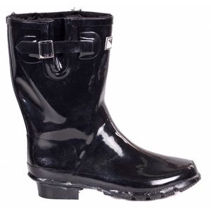 forever young Shoes - Women Faux Fur Lined Rubber Rainboots BlackRB1502