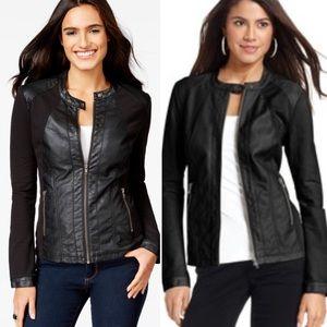 Style & Co Jackets & Blazers - Large Black Faux Leather Moto Jacket