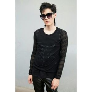 Black Longsleeve Sheer Tshirt Stripe Stretchy Goth