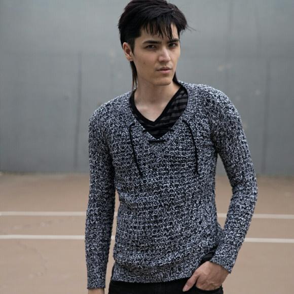 Rue21 Sweaters - Grey Black Laceup Vneck Boyfriend Sweater Waffle S