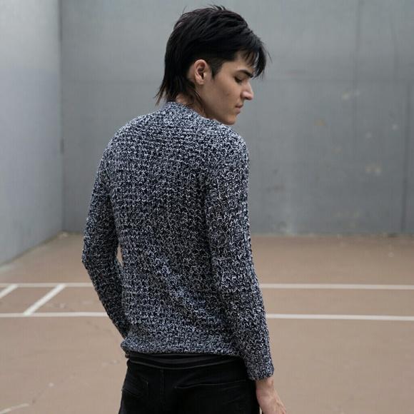 Rue 21 Sweaters - Grey Black Laceup Vneck Boyfriend Sweater Waffle S