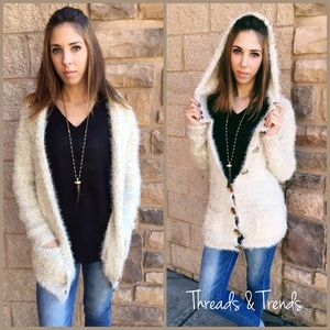 Threads & Trends Sweaters - Mohair Hooded Cardigan