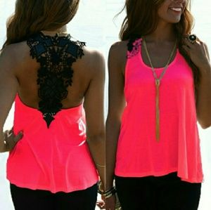 Tops - Bright Tank with Black Lace Racerback