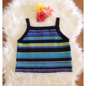 90's Vintage High Neck Striped Crop Tank 