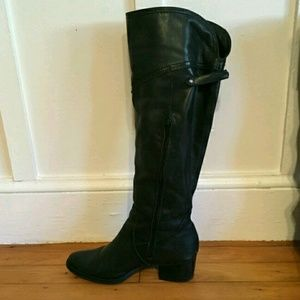 Knee High Black Leather Boots w/ Heels