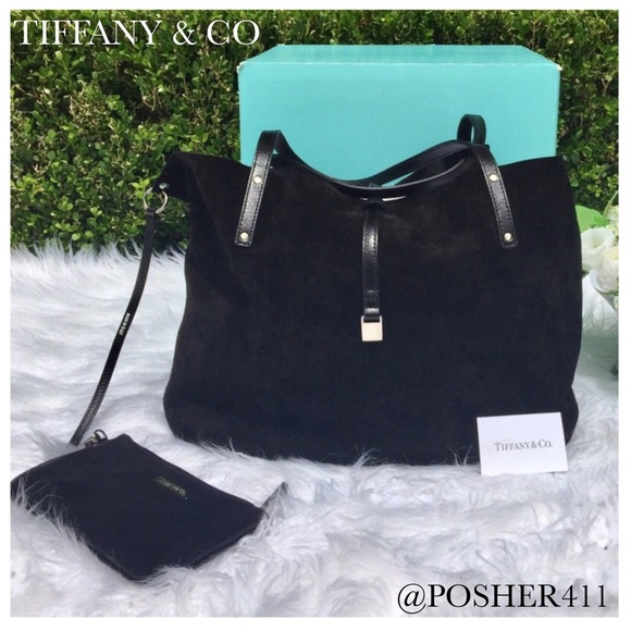 9ecb048a08 Tiffany & Co. Bags | Tiffany Co Black Leather Suede Reversible Tote ...